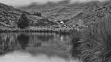 Cwmorthin garden lake in B&W