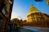 The Doi Suthep Temple at sunset