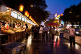 Row of exotic food stalls