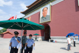 BEIJING - JUNE 04: A strong presence of uniformed and plainclothes police personnels guard the Tiananmen Square on June 04, 2009
