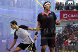 Men's final: Tarek Momen upset Mohamed El Shorbagy in a tensely fought match.