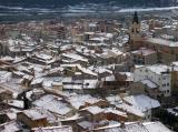 Berga snow-covered rooftops