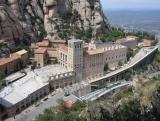 Montserrat monastry with new train arriving