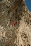 Looking way too relaxed on a Garraf 7b+