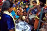 Worshipping the Siva Lingam.