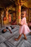 Fun, playing in the temple