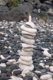Rock tower made by Bob on rocky beach