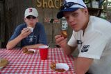 Stuart & Bobby enjoying conch fritters at Vie's Snack Shack