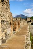 Pompeii street  scene with Mt Vesuvius in background