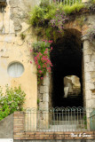 archway and  flowers