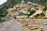 wide view of  Positano and the beach