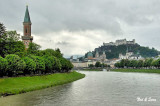the Salzach River separates old and new towns in Salzburg