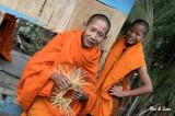 monk making a  rice bowl