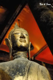 Buddha and red  backdrop