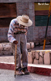 the oldest man  in Mulege shuffles along