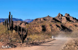 the dusty road  to Mission San Javier