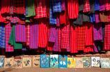colorful fabrics in street market