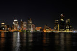 The Detroit, Michigan Skyline At 9:59 PM