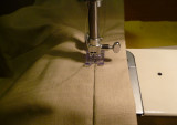 Stitching in the ditch - stitching waistband in position