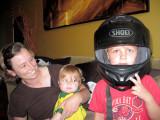 Simon tries Shane's helmet