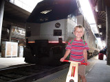 Simon poses with the Capitol Limited