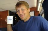 Matt is happy with coffee