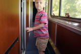 Making his way to the dining car
