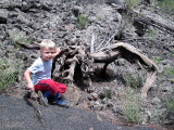 Simon with lava-twisted tree