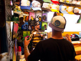 Pike Place Market - shirt and hat stand