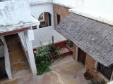 looking down into Amu House; our room is to the right under the thatched awning