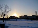 Sun pillar during a winter sunrise