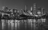 Chicago winter skyline bw