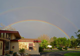 Double rainbow in the front yard