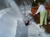 Sue with her new snow blower