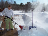 Sue with her new snow blower - 2