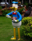 Donald Duck with a bowl of noodles