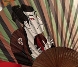 Japanese fan with a man