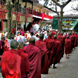 Monks accepting lunch