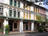 Shophouses with pastel shutters