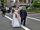 Bride and groom on Broadway