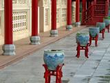 Porcelain pots in a row