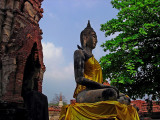 Buddha image with bird