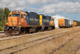 GP38-2 1804 and GP40-2 2201 in freight service at Moosonee