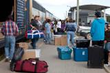 Unloading baggage from Polar Bear Express