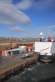 Pulling alongside the floating dock