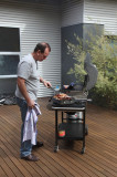 Andy (under)cooking the bacon...