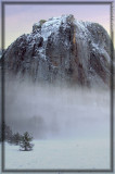 Cathedral Rock looks as if it is hanging above the fog