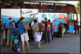 boarding the comfortable bus to Bariloche -- always booked in high season - it was a good thing we had reservations