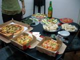 Long Yan and Hiyoshi cooked up some good food, and Ye Laoshi brought pizza.  Caroline chipped in guo tie.