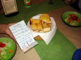Our menu and the garlice bread (my recipe!)
